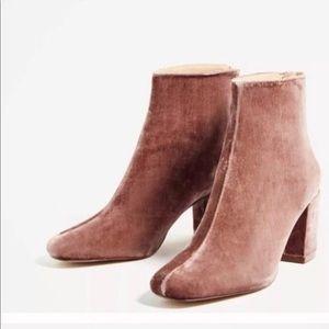 Pink Velvet Zara Heeled Boots | Size 6.5